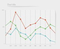 Color dotted chart, joined. Dots, on gray background Stock Image