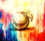 Color drawing of Fruit. Original hand draw and computer collage. Color structure. Royalty Free Stock Images