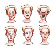 Color drawing by hand of emotions blond guy awkwardness anger surprise indifference isolated on white background faces. Color drawing by hand of emotions blond royalty free illustration