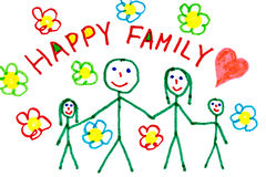 Color drawing of happy family Stock Photography