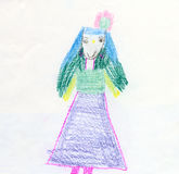Color drawing made the child - Girl Stock Photography