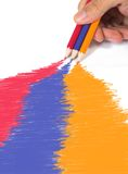 Color drawing in primary tones Stock Image