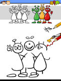 Color and drawing task for kids. Cartoon Illustration of Drawing and Coloring Educational Task for Preschool Children with Aliens Fantasy Character Stock Photography