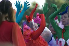 Color dreams. Street theater performance in Gorky park in Moscow. stock images