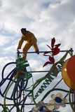 Color dreams. Street theater performance in Gorky park in Moscow. stock image