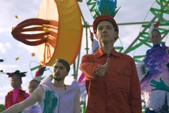 Color dreams. Street theater performance in Gorky park in Moscow. stock photo