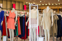 Color dresses on mannequins in mall Royalty Free Stock Photography