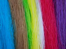 7 color dried Thai Noodle. On Bamboo panniers royalty free stock photo