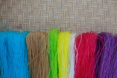 7 color dried Thai Noodle. On Bamboo panniers royalty free stock photos