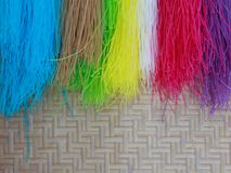 7 color dried Thai Noodle. On Bamboo panniers stock image