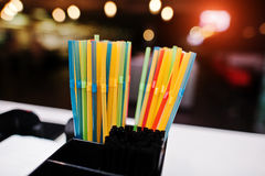 Color drinking straws  at the bar Stock Photography