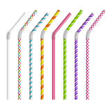 Color drinking straws vector set Royalty Free Stock Images