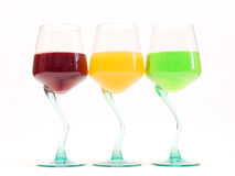 Color drinks. Three wine glasses with color drinks Stock Image