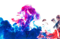 Color drop underwater creating a silk drapery Stock Photo