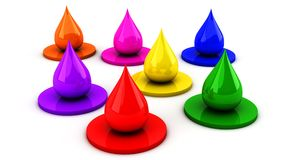 Color Drops in 3d Stock Images