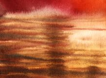 Color drops abstract red brown white. background. imitation sea. Waves. Hand drawn Real Watercolor on wet paper Stock Photos