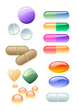 Color drugs. Various pilule and dark vial, vector illustration Stock Photography