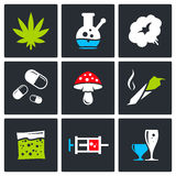 Color Drugs icon collection Royalty Free Stock Image