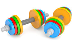 Color dumbbells Royalty Free Stock Images