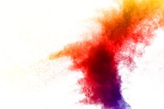 Color dust splash cloud on white background. Launched color powder explosion on background royalty free stock image