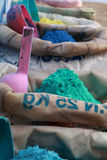 Color dye sacks. Bags full of dyes for dyeing Stock Images