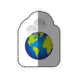 color earth planet with clouds rainning icon Royalty Free Stock Images