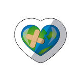 color earth planet heart with band aid icon Royalty Free Stock Images