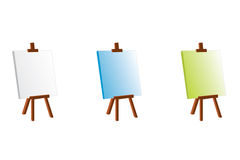 Color easel. Three coloured painting easel, white, blue and light green Royalty Free Stock Image
