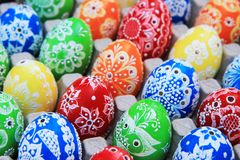 Color easter eggs background Stock Photos
