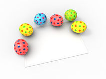 Color Easter eggs and card for the wishes Royalty Free Stock Image