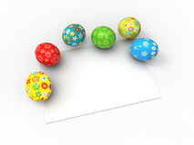 Color Easter eggs and card for the wishes Stock Image