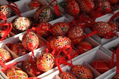 Color easter eggs (czech tradition). As holiday background royalty free stock photo