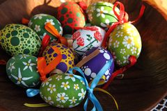 Color easter eggs (czech tradition) Royalty Free Stock Images
