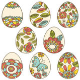 Color easter eggs with floral elements Stock Image