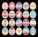 Color easter eggs isolated on black background. Holiday Easter Eggs decorated with flowers, rabbit, leafs. Easter holidays. Print. Design, label, sticker, scrap royalty free illustration