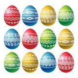 Color easter eggs isolated on white background. Holiday Easter Eggs decorated with geometric shapes. Print design, label, sticker. Scrap booking, vector stock illustration