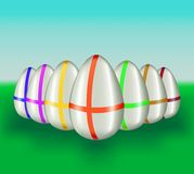 Color easter-eggs. Vector illustration. Stock Photos