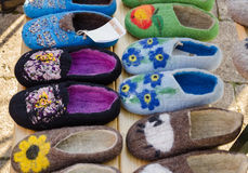 Color eco felt feminine indoor slipper on market Stock Photos
