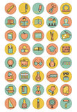 Color education icons set Stock Photos