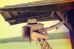 Color effect , woman outside , hair in motion blur Royalty Free Stock Photography