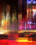 Color effex II. Flowing colorful lights favoring a modern night scene in the city with speeding air traffic stock illustration