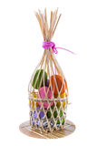 Color eggs on bamboo tray Royalty Free Stock Photos