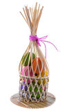 Color eggs on bamboo tray Royalty Free Stock Photo