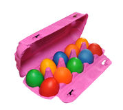 Color eggs  in a box. Color eggs lay in a box Royalty Free Stock Photos