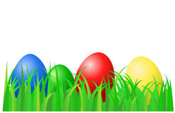 Color eggs laying on green grass Royalty Free Stock Photo