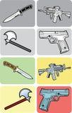 Color, ejemplos blancos y negros del arma Imagen de archivo libre de regalías