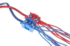 Color electric power distribution cable with terminal block Royalty Free Stock Photo
