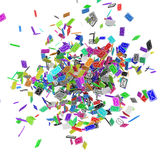 Color Email Explosion. Many small 3d email message symbols, isolated Stock Photos