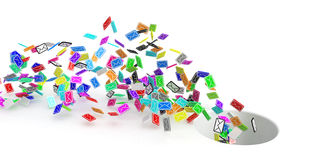 Color Emails, Hole. Many small 3d email message symbols, isolated Royalty Free Stock Photos