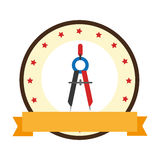Color emblem of compass with pencil Royalty Free Stock Photo
